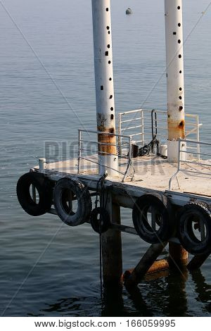 dock on the shore of Lake Kinneret, the water level in the lake dropped by 5 meters
