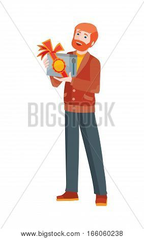 Discounts in electronics store concept. Smiling man standing with toaster bought on big sale flat vector illustration on white background. Shopping on home appliances sellout. For shop promotions ad