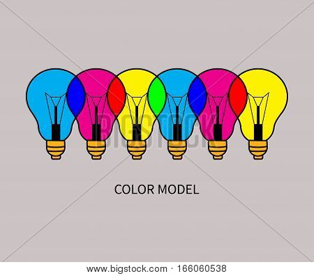 CMYK and RGB. Example of additive and substractive color model. Colorful overlapping lights. Vector illustration.