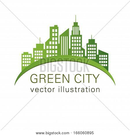 Green City Logo, Ecology Design, Vector Building Web Icon, Label, Urban Landscape,  Silhouettes, Cit