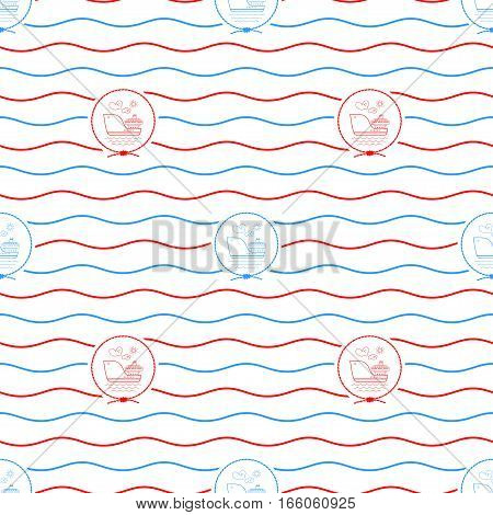 Seamless Pattern with Cargo Ship Emblem Blue and Red Barge on a Background of Red and Blue Waves Seamless Pattern with Marine Element for Web Design or Wallpaper or Fabric