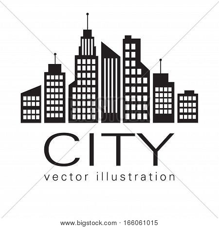 City Logo, Vector Building Web Icon, Label, Urban Landscape,  Silhouettes, Cityscape, Town Skyline,