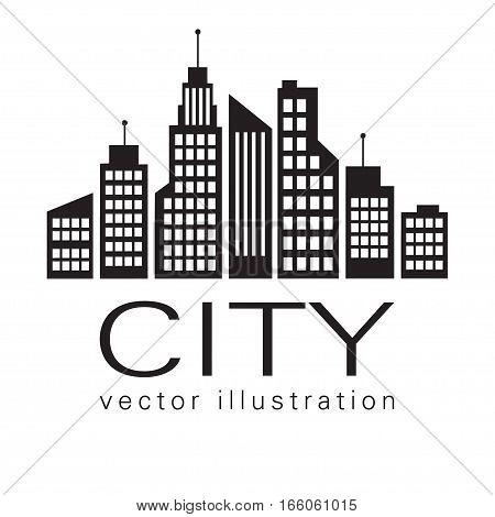 City Logo, Vector Building Web Icon, Label, Urban Landscape,  Silhouettes, Cityscape, Town Skyline,