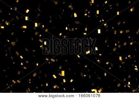 Falling Gold Glitter Foil Confetti,  On Black Background, Holiday And Festive Fun
