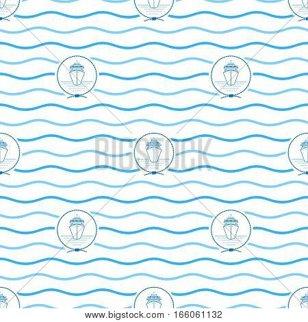 Seamless Pattern with Cruise Ship, Emblem Blue Liner in the Middle of a Rope on a Background of Blue Waves ,Seamless Pattern with Marine Element for Web Design or Wallpaper or Fabric