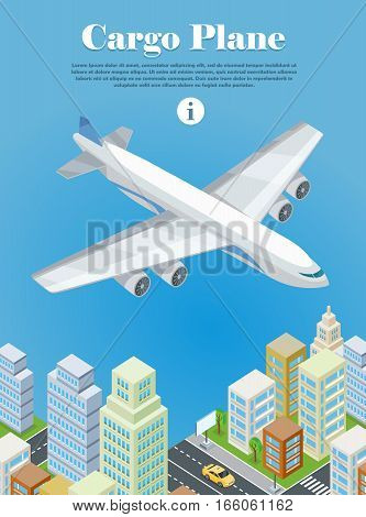 Cargo plane banner. Heavy airfreighter aircraft flying under city isometric projection vector illustration isolated on white background. Air transportation. For airline ad, landing page, web design