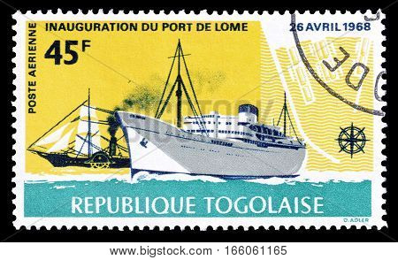 TOGO - CIRCA 1968 : Cancelled postage stamp printed by Togo, that shows ships.