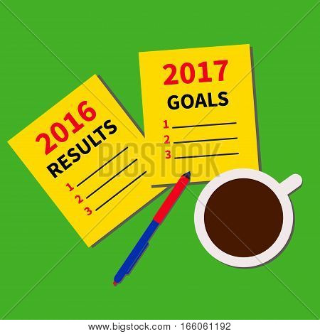 Results past year and planning goals for next year. Yellow paper sheets with items, coffee and pen. Vector illustration.