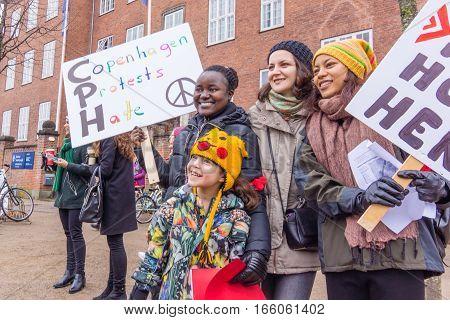 Women march en masse in front of US embassy in Copenhagen against Donald Trump January 21 2017