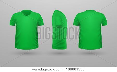 T-shirt template set, front, side, back view. Green color. Realistic vector illustration in flat style. Sport clothing. Casual men wear. Cotton unisex outfit. Fashionable apparel.