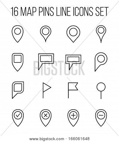 Set of map pins management in modern thin line style. High quality black outline pin symbols for web site design and mobile apps. Simple business map pins pictograms on a white background.