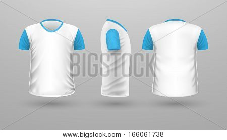 T-shirt with blue sleeve template set, front, side, back view. White color. Realistic vector in flat style. Sport clothing. Casual men wear. Cotton unisex outfit. Fashionable apparel.