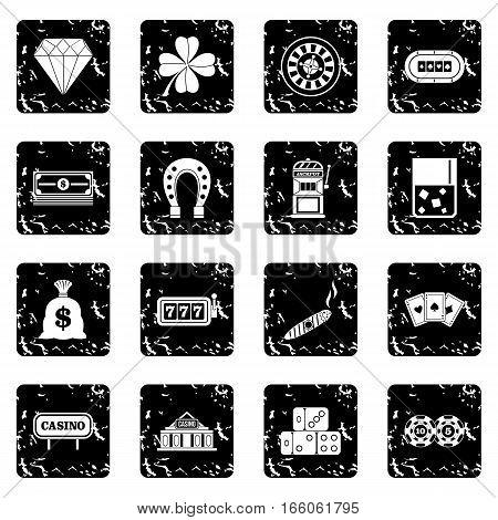 Casino icons set in grunge style isolated on white background vector illustration