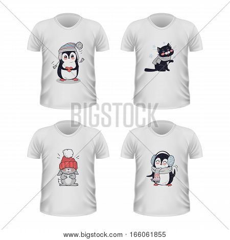 T-shirt front view with animals isolated on white. Realistic t-shirt vector in flat. Cartoon character penguin, cat, rabbit in winter cloth. Casual wear. Cotton unisex outfit. Fashionable apparel