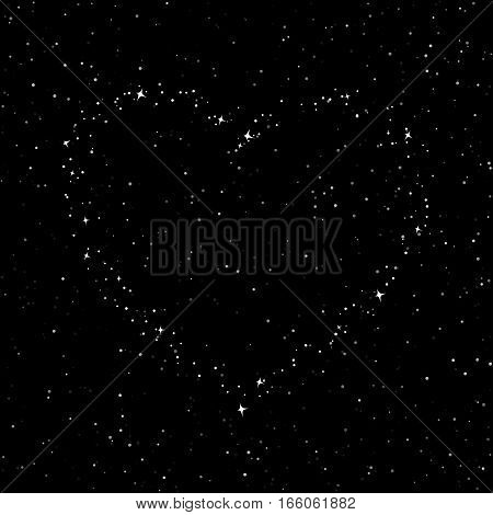 The Heart of the Stars in the Sky, Night Sky with Stars for Valentine, Starry Night Sky ,Happy Valentines Day
