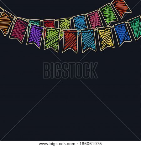 Festive Background Holiday Colorful Colored Bunting Flags on Dark Background, Drawing Crayons or Markers
