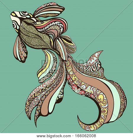 Abstract Colorful Fish. Decorative Fish From A Variety Of Different Color Patterns. Hand Drawing A G