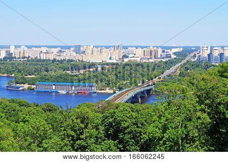View of Left Bank of Dnieper in Kyiv, Ukraine