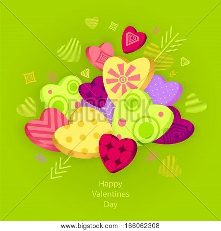 Textured Hearts with 3D effect and arrow on green  for Poster or for Creative Post Card from Happy Valentines Day