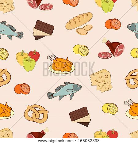 Food Vector Background, Seamless Pattern. Drawn Cartoon Multicolored Foodstuffs On A Beige . For The