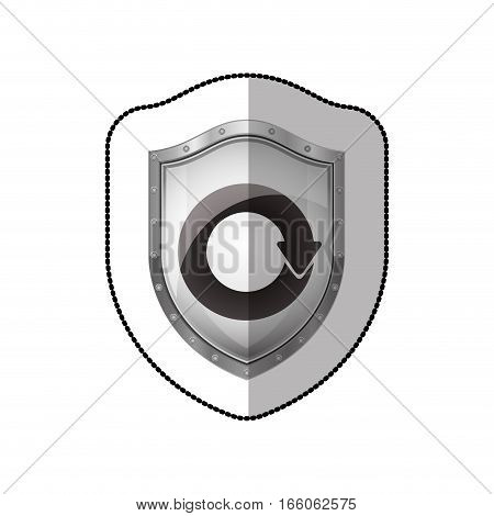 middle shadow sticker of shield with reuse symbol vector illustration