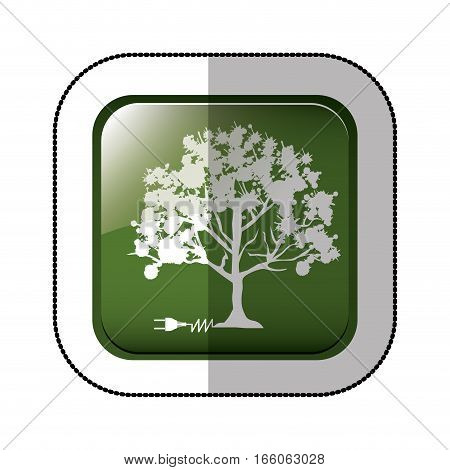 middle shadow sticker of square green with tree with power cord vector illustration