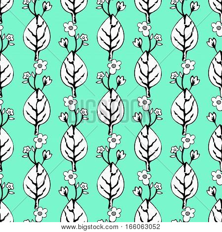 Abstract Flowers And Leaves Seamless Pattern, Vector Background. Black  White    On A Green Blue . H