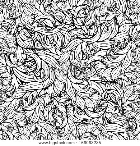 Abstract Vector Background, Black And White Seamless Pattern, Monochrome. Hand Drawing, Scrollwork,