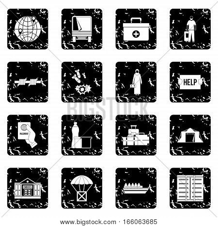Refugees problem icons set in grunge style isolated on white background vector illustration