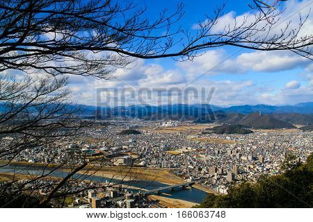 Gifu cityscape in Japan view from mountain