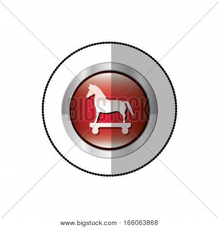 middle shadow sticker of trojan horse in circle vector illustration