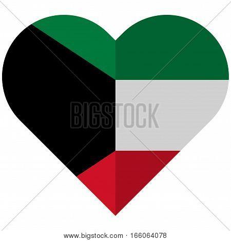 Kuwait Flat Heart Flag