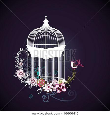 sweet dark blue card with bird cage design