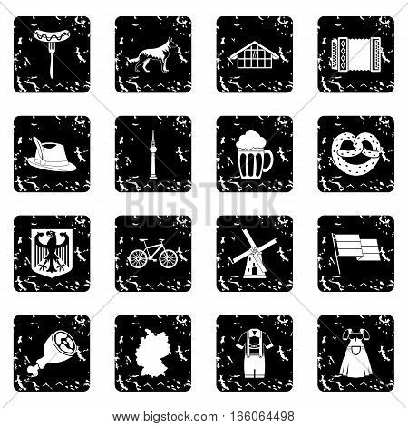Germany icons set in grunge style isolated on white background vector illustration