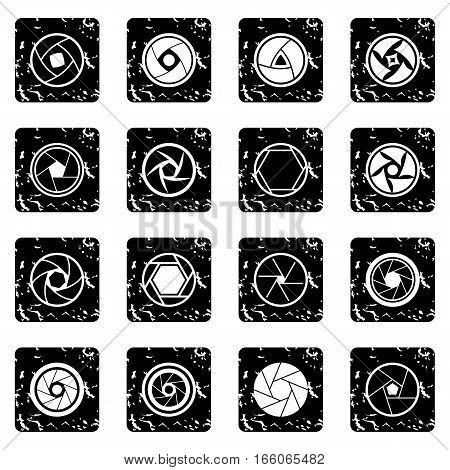 Photo diaphragm set in grunge style isolated on white background vector illustration