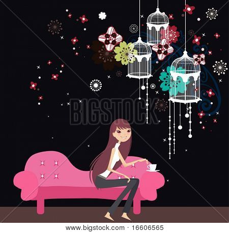 girl sitting at the sofa