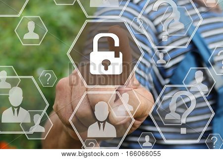 Farmer businessman pushing icon of security shield business from viruses on the Internet on the touch screen in the web network . Tanned hands, male hands of an elderly person.
