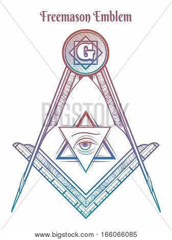 Freemason square and compass. Colorful freemasony vector sign isolated on white