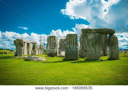 Stonehenge an ancient prehistoric stone monument Wiltshire UK.
