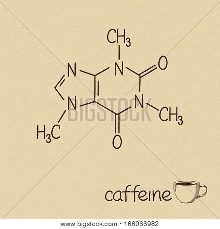 Hand drawn chemical model of caffeine molecule and cup of coffee