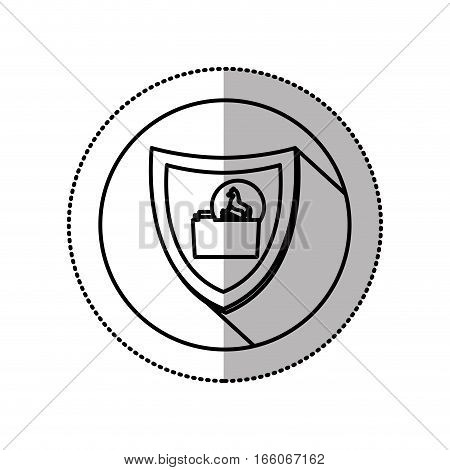 monochrome middle shadow sticker with circle with shield trojan horse folder vector illustration