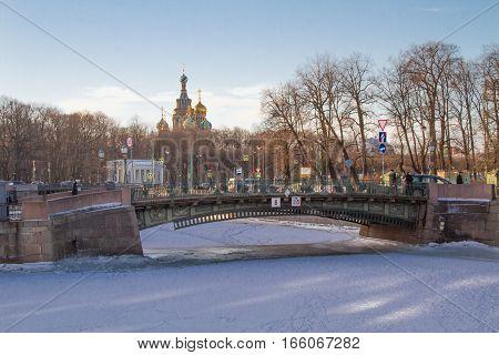 Saint Petersburg 01/26/2017: Metal bridge of the Summer Garden to the Mikhailovsky Castle