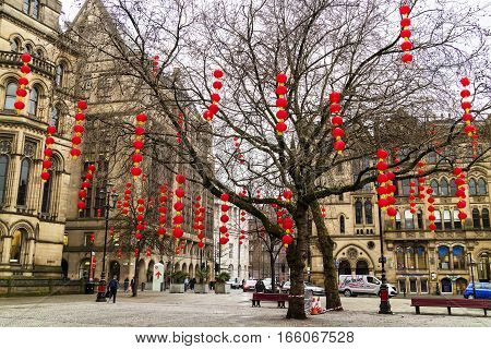 MANCHESTER, ENGLAND - JANUARY 17: Red lanterns decorations in Manchester's Albert Square in preparation for Chinese New Year on January 17, 2017.