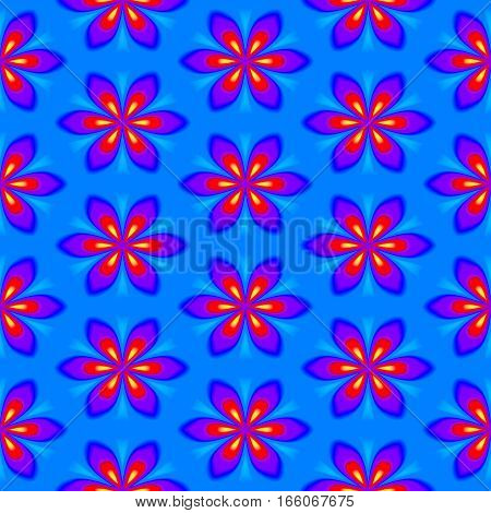 Abstract blue, red and violet floral pattern. Colorful texture background. Seamless illustration.