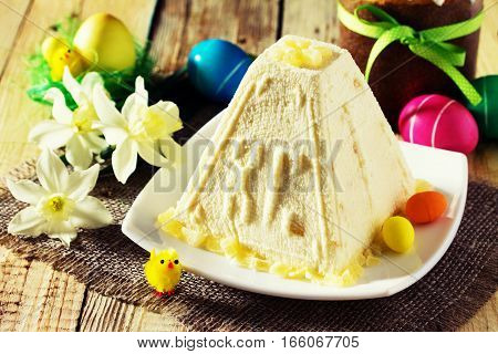 Easter Background. Traditional Easter Holiday Table: Cake, Easter And Colorful Easter Eggs. Toned Im