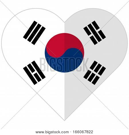 Republic Of Korea Flat Heart Flag