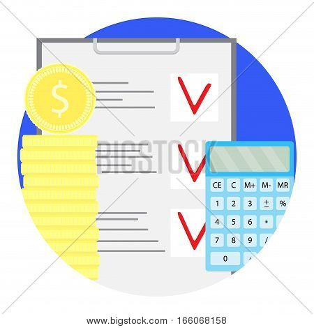 Counting financial budget vector icon. Stock of golden coin with calculator and checklist illustration
