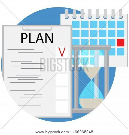 Planning and time management icon flat. Organization buisness vector. hourglass calendar and checklist illustration