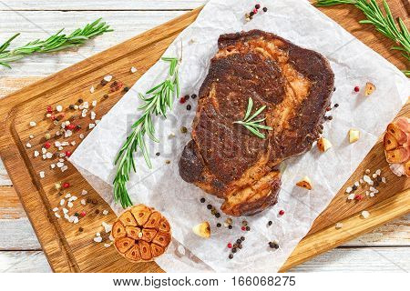 Beef Rib-eye Meat Juicy Steak Fried In Iron Pan