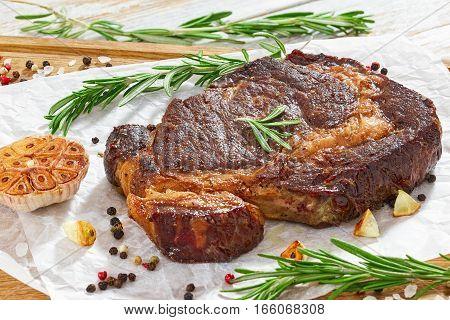 Hot Beef Ribeye Meat Juicy Steak, Close-up